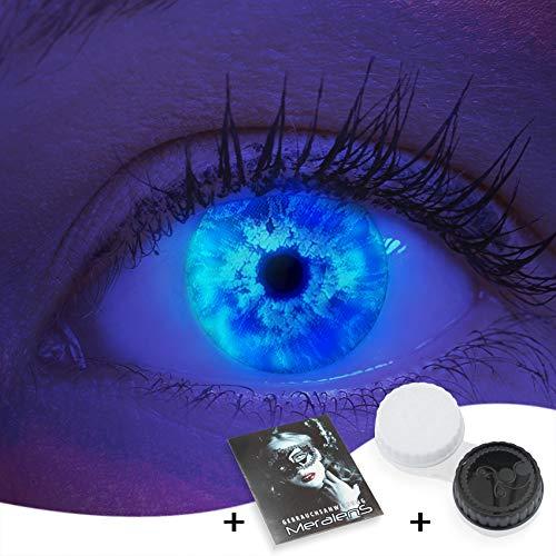 Farbige UV Kontaktlinsen 1 Paar Blaue Ice Blue Schwarzlicht Glow Neon Farblinsen. Jahreslinsen Topqualität zu Halloween, Fasching, Fastnacht, Karneval inkl. Kontaktlinsenbehälter - Ohne Stärke