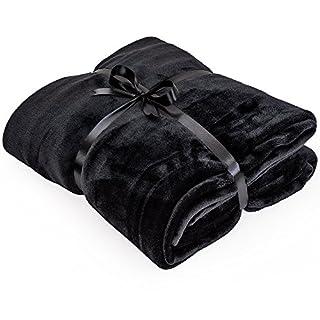 VIVA Home Mikrofaserdecken 220x220cm Kuscheldecke XXL Tagesdecken Wohndecken Decken, Farbauswahl:schwarz
