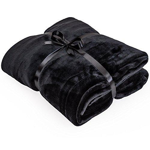 Mikrofaserdecken 220x220cm Kuscheldecke XXL Tagesdecken Wohndecken Decken, Farbauswahl:schwarz
