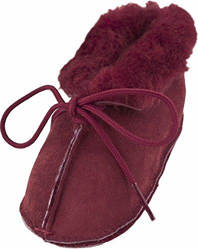 Lambland Babyschuhe, aus echter britischer Schafswolle, handgefertigt, für Kleinkinder von 0 bis 24Monaten geeignet, Pink / Blau / Burgundrot Burgunderrot