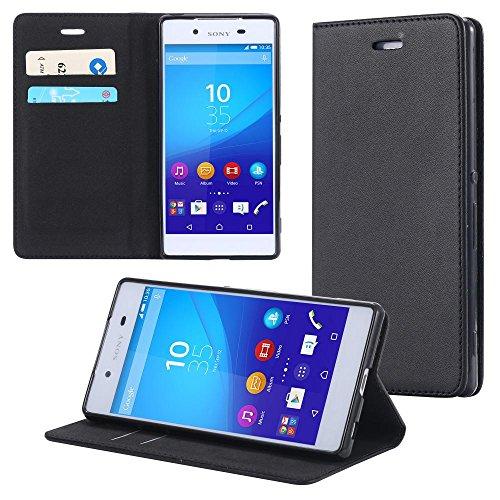 ECENCE Sony Xperia Z4 Schutz Hülle Schwarz + Panzerfolie Handy Tasche Cover Case Wallet Brieftasche Klapp Hülle Book-Style mit Standfunktion Standfuss 42050003