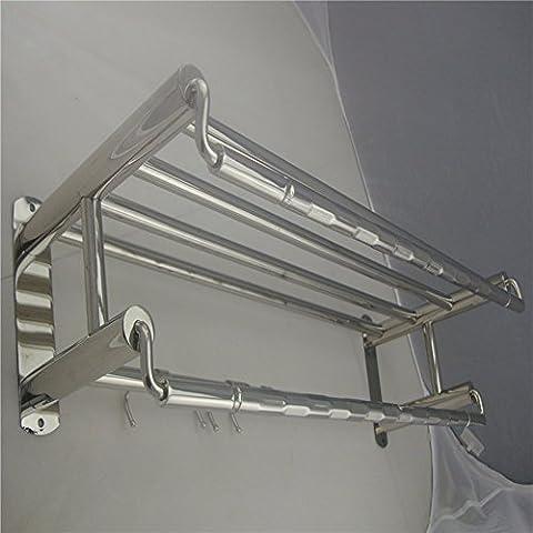 ZHGI Multifunktionshebel mode Edelstahl Handtuchhalter mit Haken Badezimmer Handtuchhalter