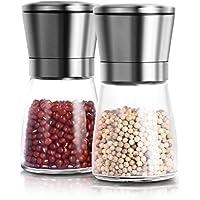 Adoric Life - Molinillo para sal o pimienta, de acero inoxidable y cuerpo de vetroper, para moler sal, pimienta, especias, semillas de lino, guindillas.