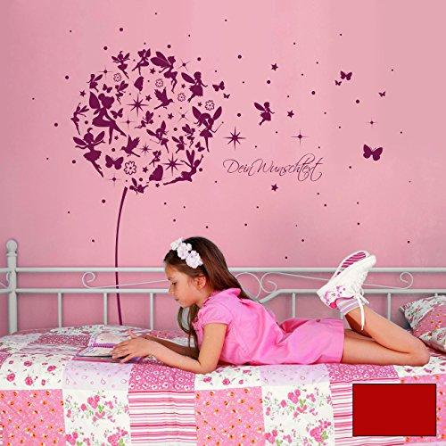 ilka parey wandtattoo-welt® Wandtattoo Wandaufkleber Wandsticker Aufkleber Sticker Pusteblume mit Elfen Feen Schmetterlingen Blumen Punkten Sternen und Wunschtext M2056 - ausgewählte Farbe: *kirschrot* ausgewählte Größe: *XL - 180cm breit x 170cm hoch*