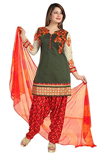 IDHA Chanderi Embroidery Ethnic Stitched Suits for Women - Mehendi color / Orange