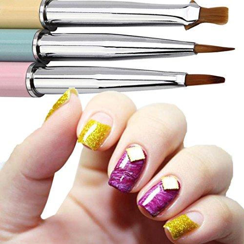 Oyedens 3pcs Uv Gel AcríLico Clavo Arte Cepillo Conjunto Arte Constructor Pintura Pluma DiseñO Nail Art, 14.5cm