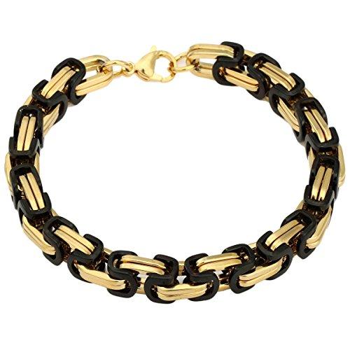 Trendsmax 8mm Gli uomini in acciaio inossidabile Wristband casella bizantina Catena, oro nero tono