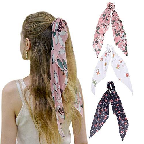 WELROG Chiffon Pferdeschwanz Haarschal Haargummis - Blumen-Acajoubaum Leopard Ripple Point Elastic Haargummis Bogen für Frauen (Blumenart (Weiß + Rosa + Marineblau))