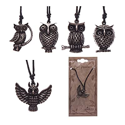 Fun Pewter Owl Design Pendant with Cord