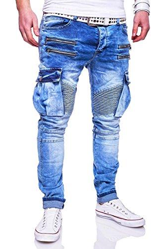 MT Styles Zipper Biker Jeans Slim Fit Hose RJ-3196-2 [Hellblau, W32/L32]