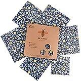 Bee's Trend Lot de 6 Emballages en cire d'abeille, emballages alimentaires naturels, zéro déchet pour fromage et sandwiches, couvre-plats lavables Blue (Flower Pattern)