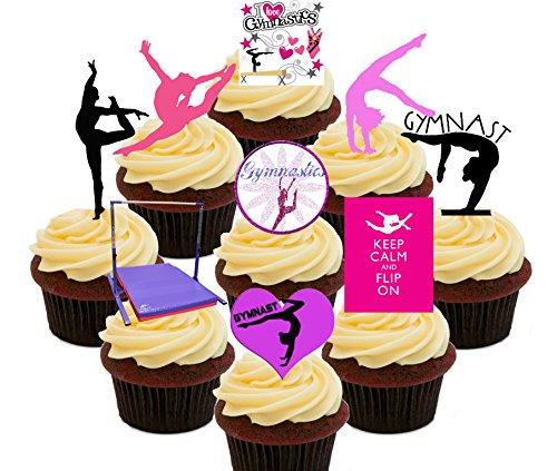 I love GYMNASTIK Party Pack, essbaren Kuchen Dekorationen-Stand-Up Wafer Cupcake Topper, Pack of 72 (Gymnastik-kuchen-dekorationen)