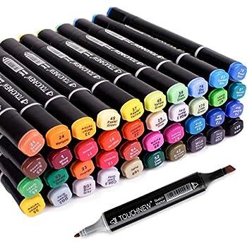 TouchNew Grafik-Marker-Stifte mit schwarzem Schaft, bunt