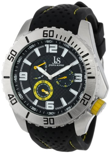Joshua & Sons Men's JS53YL Multi-Function Watch with Black and Yellow Silicone Strap