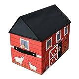 TE-Trend Stoff Spielhaus Spielbox Motiv Scheune Aufbewahrungsbox mit Deckel aufklappbar