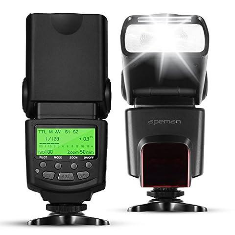 APEMAN E-TTL Speedlite Blitzgerät Blitz für Canon, Unterstützt M / MULTI / S1 / S2 Blitzmodus, LCD Bildschirm, Multifunktionales Portables Paket. Kompatibel mit Canon DSLR (Blitzlicht Canon)