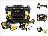 DeWalt DCG 405 D1 18 V 125 mm Brushless Akku Winkelschleifer + 1 x 2 Ah Akku + Ladegerät im TStak Werkzeugkoffer