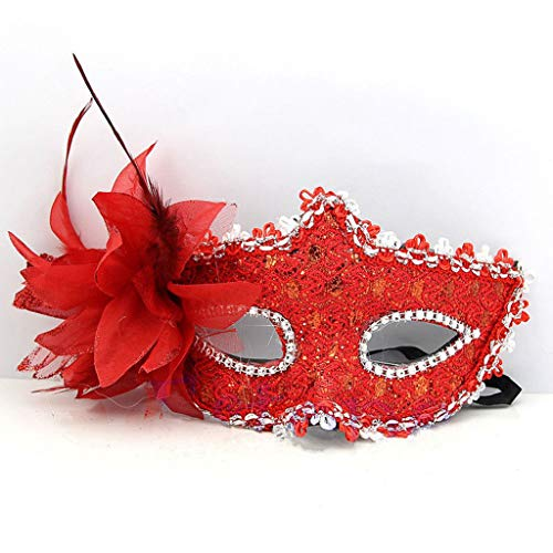 cessoires, 1 Stück, venezianische Maske, halbe Gesichtsmaske, Halloween, Weihnachten, Kostüm, Party, Cosplay, rot, Reference Picture or Product Description ()