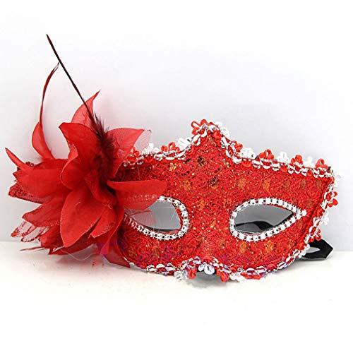 JAGENIE Halloween-Accessoires, 1 Stück, venezianische Maske, halbe Gesichtsmaske, Halloween, Weihnachten, Kostüm, Party, Cosplay, rot, Reference Picture or Product Description