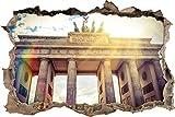Pixxprint 3D_WD_1153_92x62 Brandenburger Tor in Berlin Wanddurchbruch 3D Wandtattoo, Vinyl, Bunt, 92 x 62 x 0,02 cm