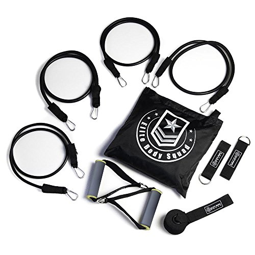 Elite Body Squad Resistance Bands Set - Home Gym Kit With 4 High Strength Fitness Bands   Ankle Straps - Soft Grip Handles And FREE Storage Bag   Workout Plan And Training Instructions