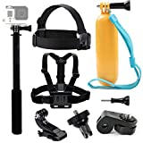 Tekcam accessoire Bundle Kit Chest Head Strap Montage flottant Poignée grip Selfie Stick pour YI 4 K Vivitar Akaso Ek7000 Crosstour 4 K Action Camera Sony Digital Camera