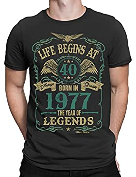 Life Begins At 40 Herren T-Shirt - BORN In 1977 Year of Legends 40th Geburtstag Gift - von Buzz Shirts ®