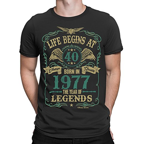 Life Begins At 40 Hombres Camiseta - BORN In 1977 The Year of Legends 40th Regalo de cumpleaños Buzz Shirts ®