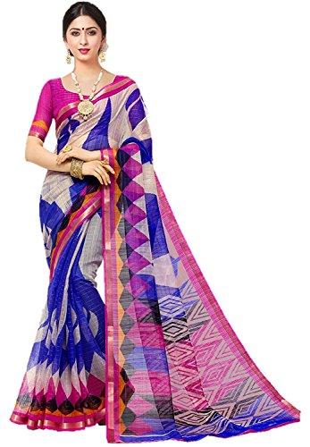 FabDiamond Women's Cotton Saree(Kora Multis_Multicolor)