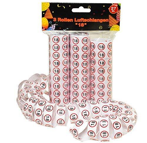 18 Geburtstag Deko 27 Stück Luftschlangen Papierschlangen mit Zahl 18 Dekoration zum 18er Geburtstag Party oder andere Anlässe