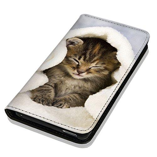 Hülle Galaxy J1 2016 Hülle Samsung J1 J120 Schutzhülle Handyhülle Flip Cover Case Samsung Galaxy J1 2016 J120 (OM1003 Katze Katzen Baby Braun Blau Weiß)