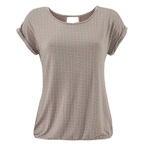 Damen T-Shirt Kurzarm Basic Tee mit Allover-Minimal Print Lose Stretch Sommer Oberteil Tops (Minimal Halloween 2019)