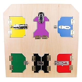 Sharplace Montessori Materials Lock Board w/ 6 Doors Locks Kids Child Early Developing