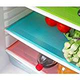 #9: Shop Buzz Pack of 6 Refrigerator Drawer Mats / Fridge Mats / Multi Purpose (Assorted Colour) Mats With Self Design ( Material - Plastic) - Colours As Per Availability