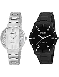 Skemi Analog Round Dial Men-Woman Watch/Fashionable Couple Watch/Watches For Couple Combo-044