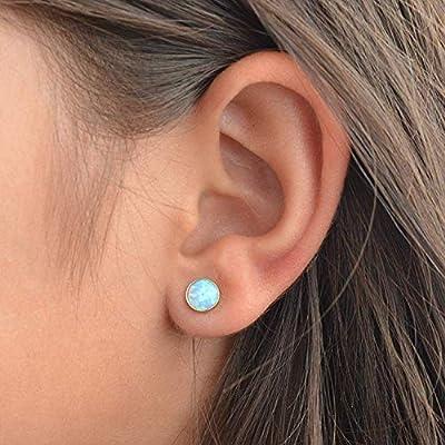 Dormeuses en opale bleu clair Dormeuses rondes remplies d'or 6mm
