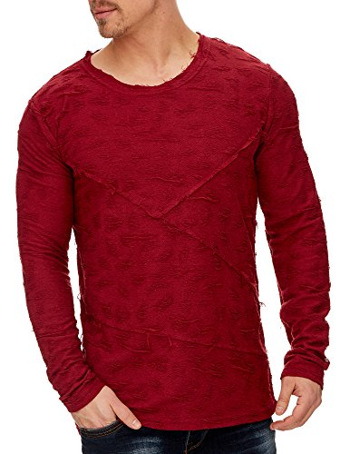 TAZZIO Herren Rundhals Sweatshirt Pullover Hoodie 1230 Bordo