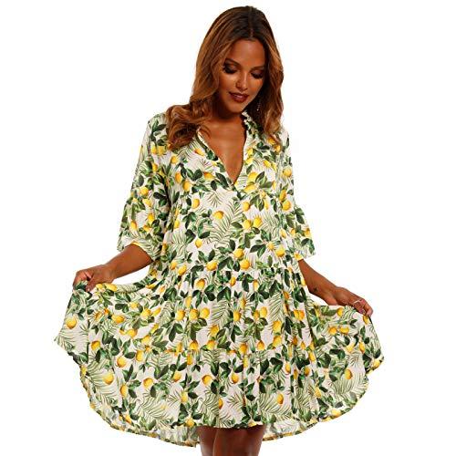 YC Fashion & Style Damen Tunika Kleid mit Patchwork Muster Boho Look Partykleid Freizeit Minikleid oder Strandkleid HP219 Made in Italy (One Size, Model44) Fashion Kleid