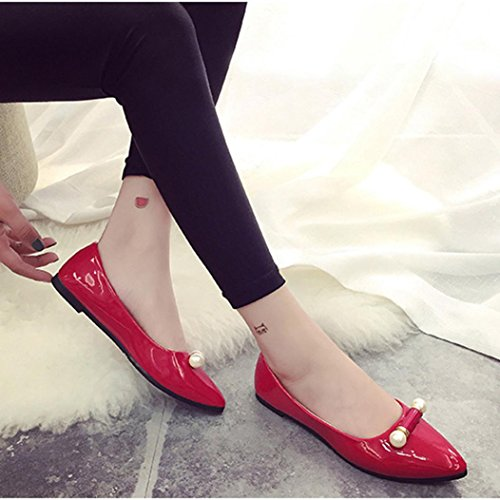 OverDose Ladie Casual Schuhe Schwangere Frauen Schuhe Perle Breathable flache Schuhe Rot