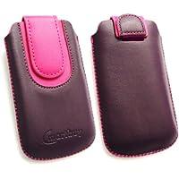 Emartbuy ® Lila / Rosa PU Leder Tasche Hülle Schutzhülle Case Cover (Größe Medium) mit Ausziehhilfe Passend Geeignet Für Samsung S8000 Jet