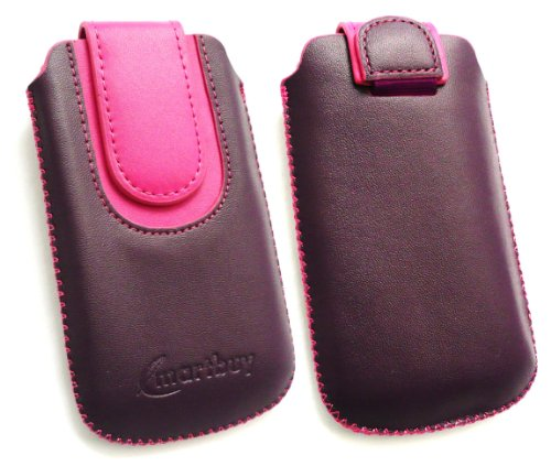 emartbuy ® Lg Ku990 Viewty Purple/Pink Premium-Pu-Leder Slide In Pouch/Case/Sleeve/Holder (Größe Medium) Mit Pull Tab Mechanismus Und LCD Screen Protector Ku990 Lcd