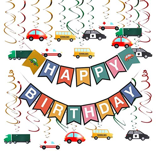 Hangnuo Transportation Cars Trucks Bus Vehicle Hanging Swirl Decoration, Cars Theme Happy Birthday Banner Garland for Transportation Vehicle Theme Birthday Party Baby Shower Party Supplies
