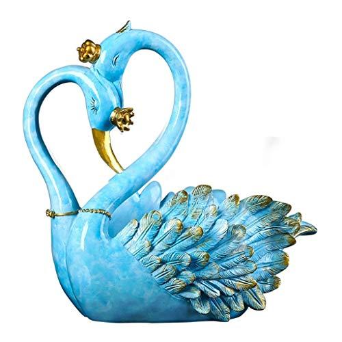YYJIAJU Weinregal Top Dekoration Phantasie Schwan Weinregal Stand Statue Western Bar Dekor und Küchenarbeitsplatte Weinregale (Farbe: Blau , Bronze) (Color : Blue) (Top Weinregal)