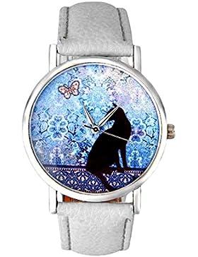 Sunnywill Frauen Katze Muster Leder Band Analog Quarz Vogue Armbanduhr Weiß