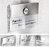 Türklingel in weiß mit Gravur-Service und LED beleuchtetem Klingeltaster (verschiedene Farben wählbar), Edelstahl V2A Klingelplatte, Unterputz - von Metzler-Trade®