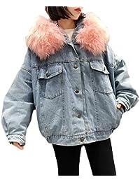 Vaqueras Jacket Mujer Elegantes Vintage Anchos Abrigo De Jeans con Manga  Larga Invierno Cuello De Piel 740e0b2cb32