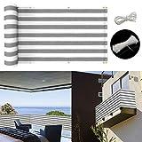 longdafei Balkon Sichtschutz UV-Schutz blickdichte wetterbeständige Balkonbespannung Balkonverkleidung mit Kabelbindern HDPE-Spezialgewebe 5 Meter (90x500cm) (Grau und...