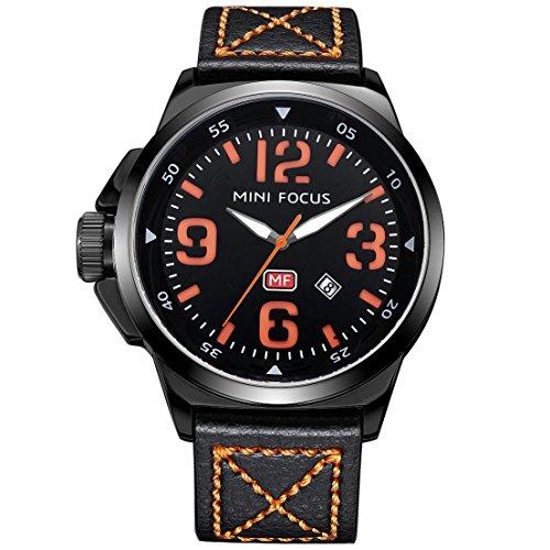 MINI FOCUS Herren Militär Analoge Uhr Männliche Leder Gürtel Edelstahl Quarz Armbanduhr mit Datum Orange