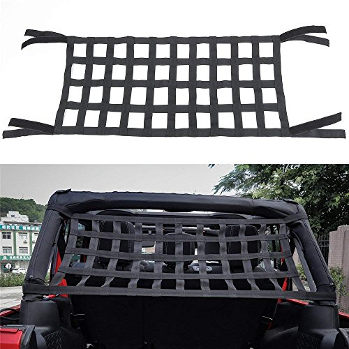 Rear Top Cargo Net for J-eep Wrangler ,Car Roof Hammock Car Bed Rest J-eep Wrangler Accessories JK YJ TJ JL 1996-2018 Roof Storage Roll Cage Bar Restraint