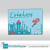 Einladungskarte Kindergeburtstag -Meerjungfrauen Party - DIN A6/10 Stück